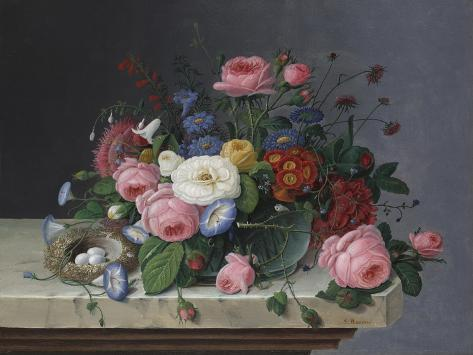 Still Life with Flowers and Bird's Nest, after 1860 Giclee Print