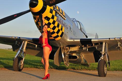 sexy 1940 39 s style pin up girl posing with a p 51 mustang photographic print. Black Bedroom Furniture Sets. Home Design Ideas