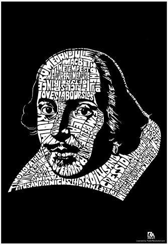 Shakespeare Plays Text Poster Poster