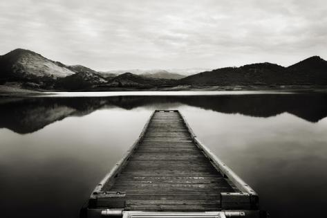 Emigrant Lake Dock I in Black and White Stretched Canvas Print