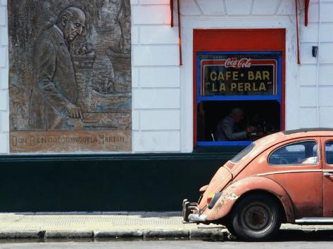 Old Car in Front of Bar in La Boca Harbour Area, Buenos Aires, Buenos Aires, Argentina Photographic Print