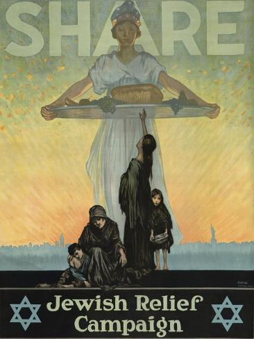 Share: Jewish Relief Campaign, c. 1917 Art Print