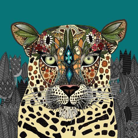 Leopard Queen Teal Kunstdruk