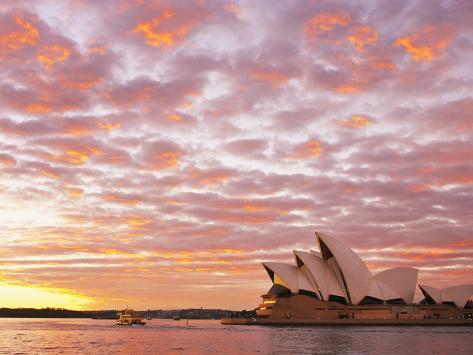 Australia, New South Wales, Sydney, Sydney Opera House, Boat in Harbour at Sunrise Photographic Print