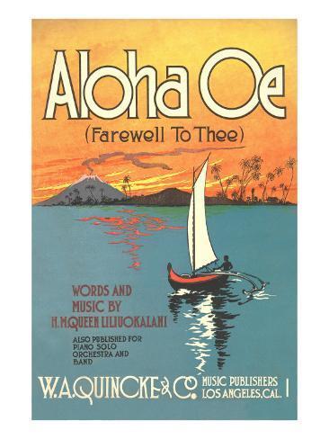 Sheet Music to Aloha Oe Art Print