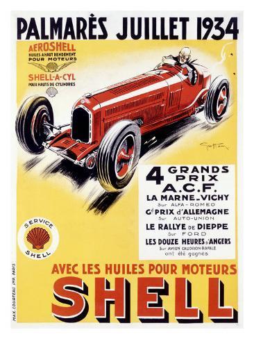 Shell Oil Automobile Grand Prix, c.1934 Giclee Print