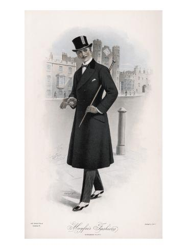 Shifty-Looking Gentleman Wears a Double-Breasted Waisted Overcoat Stampa giclée