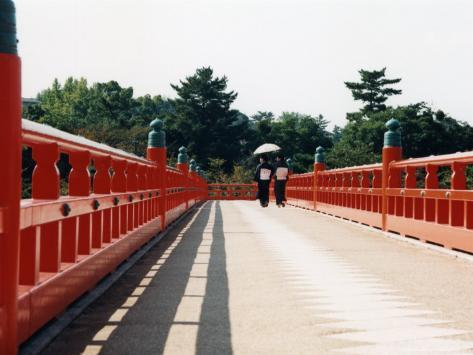 Kimono on the Bridge, Kyoto, Japan Photographic Print