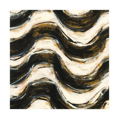 Black and Gold Geometric V Crop Art Print
