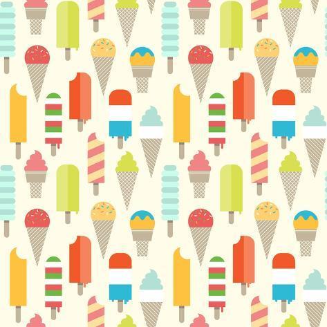 Seamless Colorful Ice Cream Pattern. Art Print