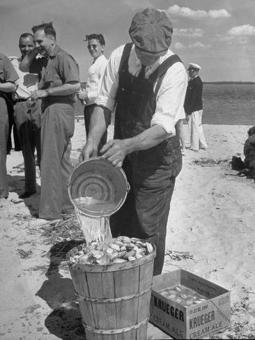 Sights of a Typical Summer at Cape Cod: Watering Clams to Aid the Steaming for Clambake Photographic Print