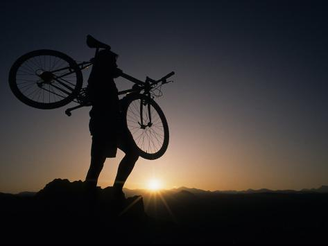 Silhouette of Cyclistist at Sunrise, Boulder, Colorado, USA Photographic Print