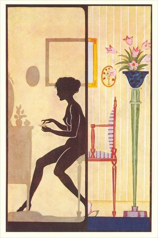 Silhouette of Nude at Dressing Table Art Print