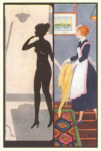 Silhouette of Nude Dressing Art Print