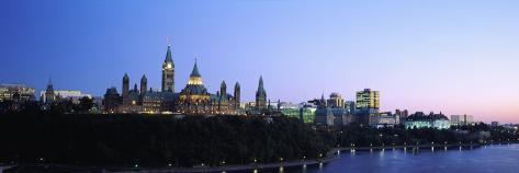 Silhouette of Parliament Building along a Lake, Ottawa, Ontario, Canada Fotoprint