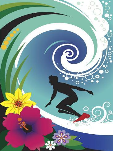 Silhouette of Surfer in Curl of Wave Photo