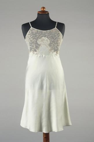 Silk Satin Underdress With Lace Inserts 1930s 1940s Gicléedruk