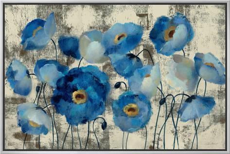 Aquamarine Floral Impressão em tela emoldurada