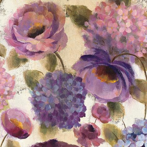 Blue and Purple Flower Song III Art Print