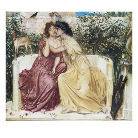 Sappho and Erinna in the Garden Mytelene Lámina giclée