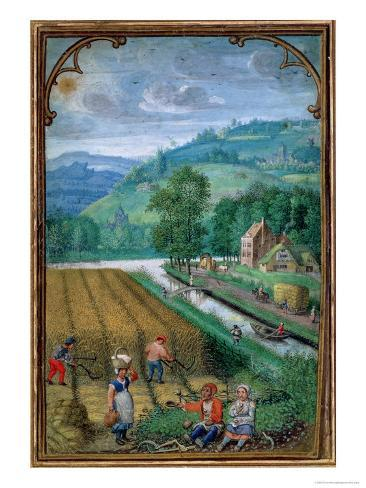 September: Harvesting, Ploughing and Sowing, from a Book of Hours, c.1540 Giclee Print