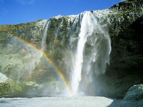 Seljalandsfoss Waterfall and Rainbow, Southern Area, Iceland, Polar Regions Photographic Print