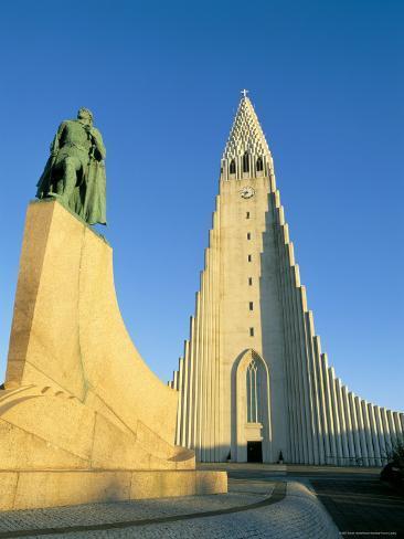 Statue of Liefer Eriksson and Hallgrimskikja Church, Reykjavik, Iceland, Polar Regions Photographic Print