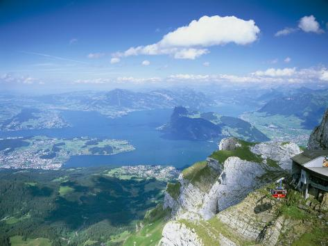 View from Mount Pilatus Over Lake Lucerne, Switzerland Photographic Print