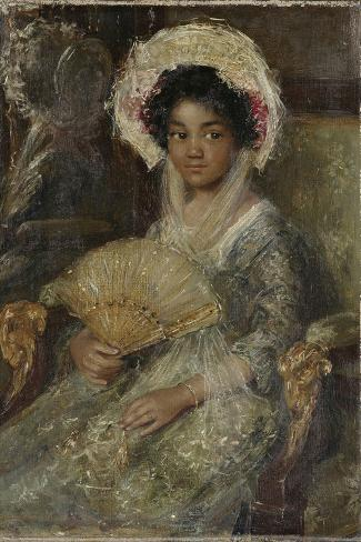 Young Black Woman in a Lace Hat and a Fan in the Right Hand Art Print