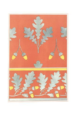 Simplified Oak Leaves and Acorns on Red Background Art Print