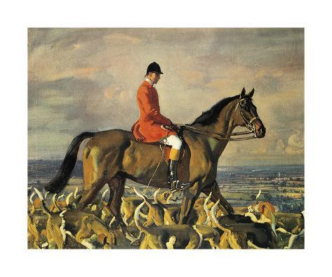 Portrait Of Major T. Bouch With The Belvoir Hounds Premium Giclee Print