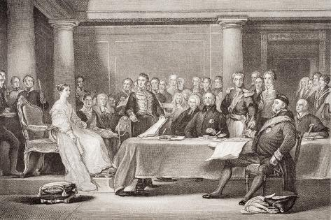 Queen Victoria's First Council, Kensington Palace, 21 June 1837, from 'Illustrations of English… Lámina giclée