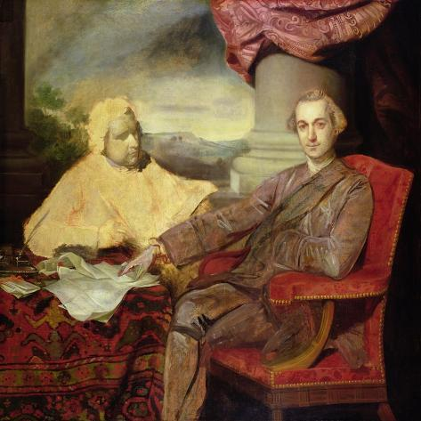 Portrait of Lord Rockingham (1730-82) and Edmund Burke (1729-97) C.1766 Lámina giclée