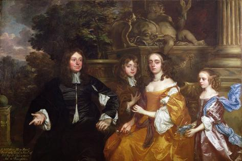 Sir John Cotton and His Family, 1660 Impressão giclée