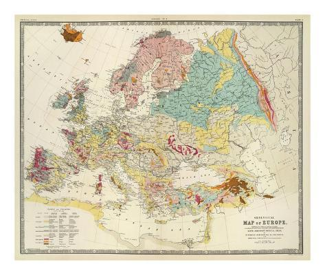 Geological Map of Europe, c.1856 Art Print