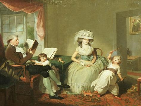 A Group Portrait of Mr. and Mrs. Hayward with their Children, Mathilda and George, C.1789 Lámina giclée