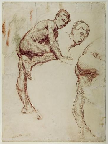 A Study of a Young Man Climbing, C.1898 Lámina giclée