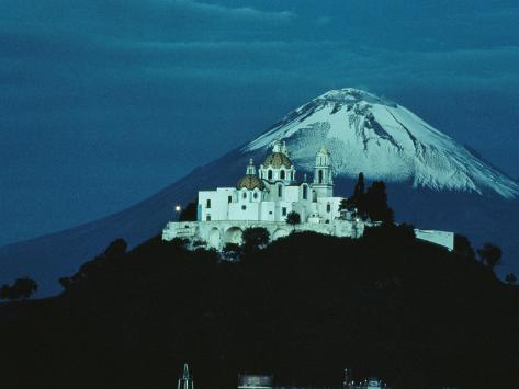 Volcano Stands Beyond a Church Built on a Huge Pyramid, Cholula, Pueblo State, Mexico Photographic Print