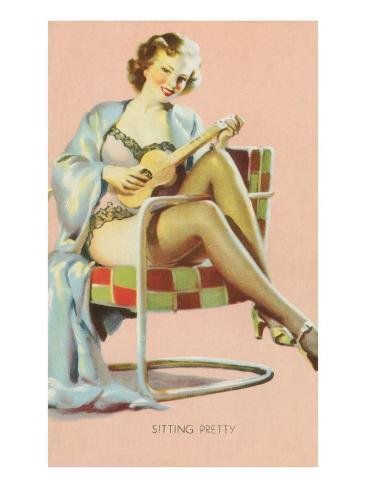 Sitting Pretty, Lady with Ukulele Art Print