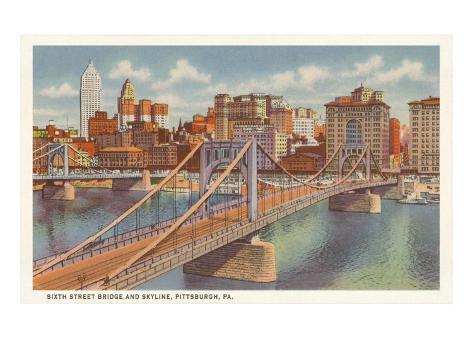 Sixth Street Bridge, Pittsburgh, Pennsylvania Art Print