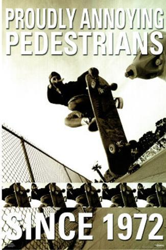 Skateboarders Proudly Annoying Pedestrians Since 1972 Sports Poster Print Poster