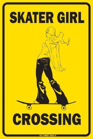 Skater Girl Crossing Tin Sign