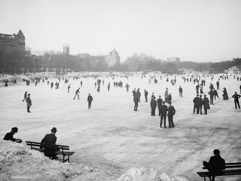 Skating in Central Park, New York, C.1900-06 Photographic Print