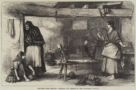 Sketches from Ireland, Spinning Net Thread in the Claddagh, Galway Giclee Print