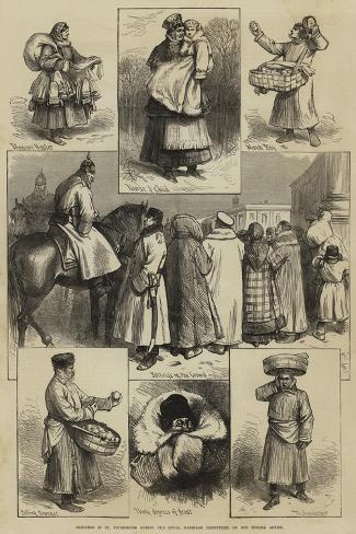 Sketches in St Petersburg During the Royal Marriage Festivities Giclee Print