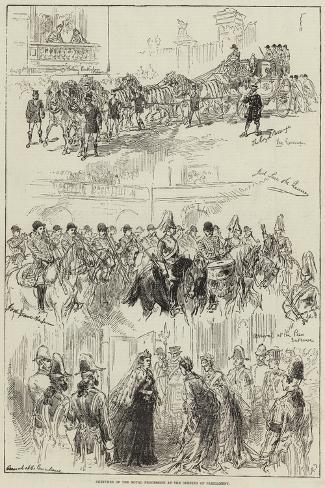 Sketches of the Royal Procession at the Opening of Parliament Giclee Print