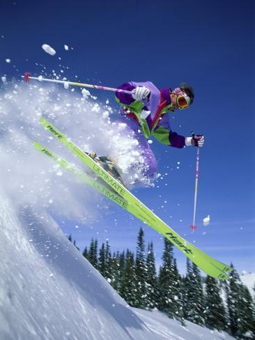 Skier with Yellow Skis Photographic Print