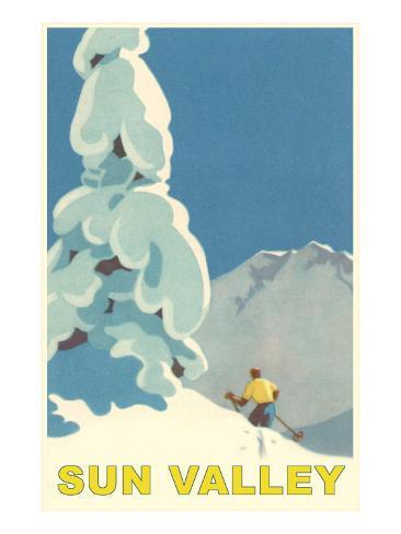 Skiiing in Sun Valley, Idaho Art Print