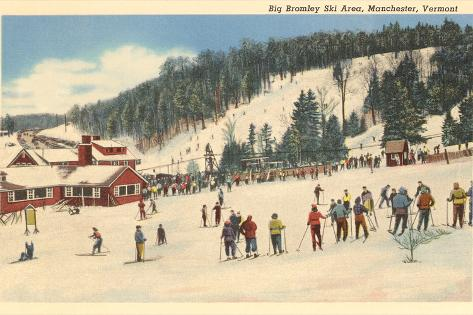 Skiing at Big Bromley, Manchester, Vermont Art Print