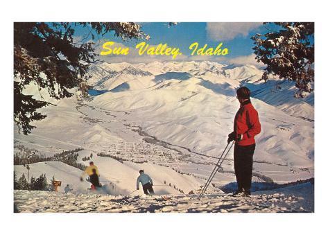 Skiing at Sun Valley, Idaho Art Print